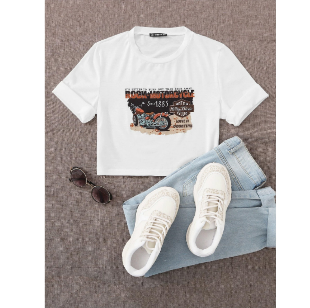 Motorcycle & letter graphic crop tee s