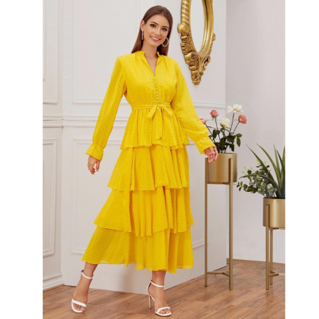 Swiss dot layered ruffle trim belted dress m