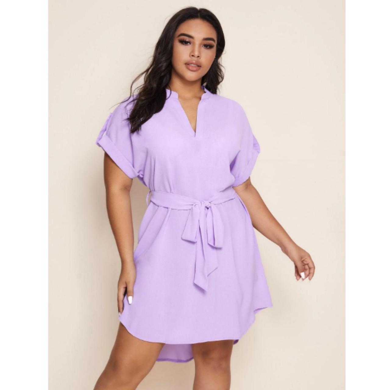 Plus roll-up sleeve shirt dress 2xl