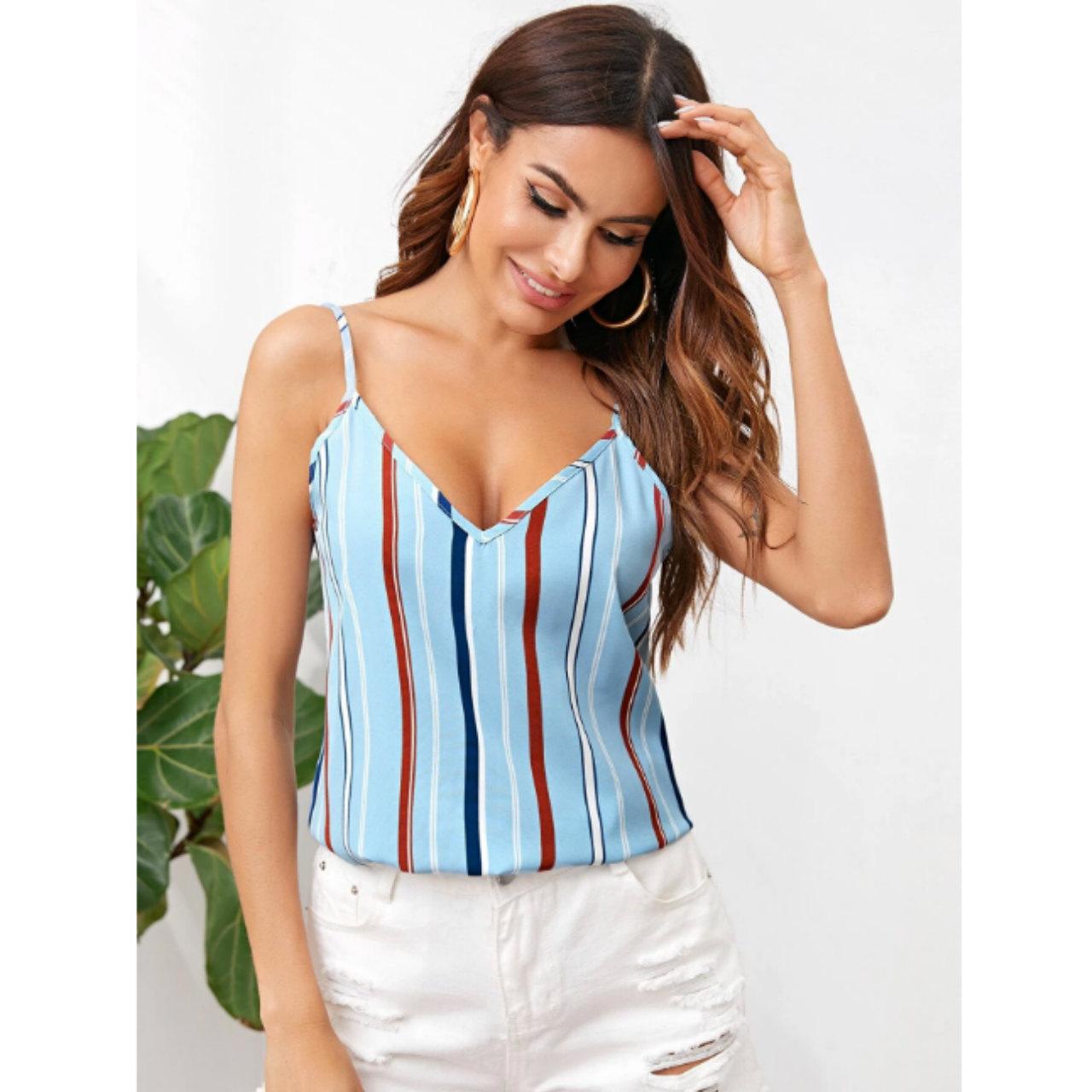 Double v-neck striped cami top xl