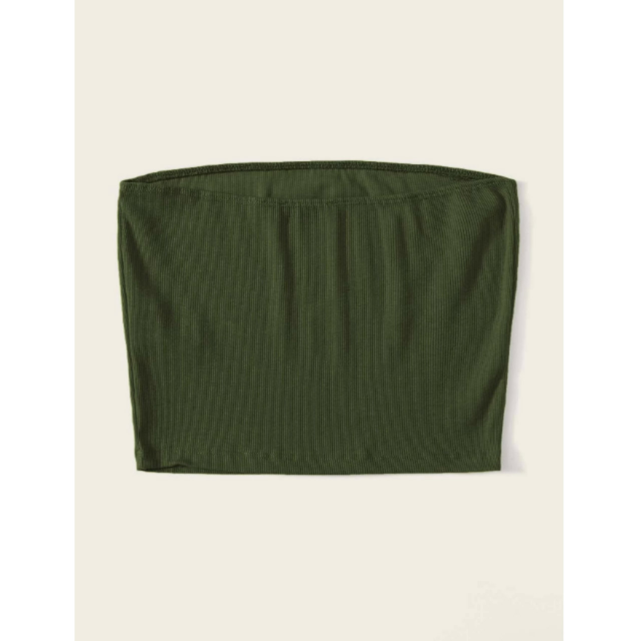 Ribbed cropped tube top m