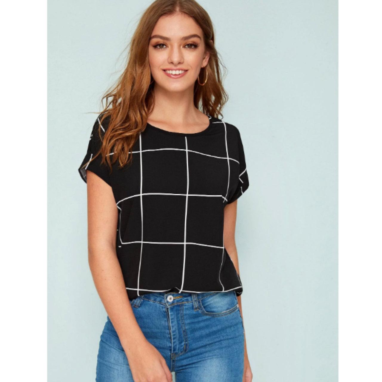 Grid print short sleeve top m