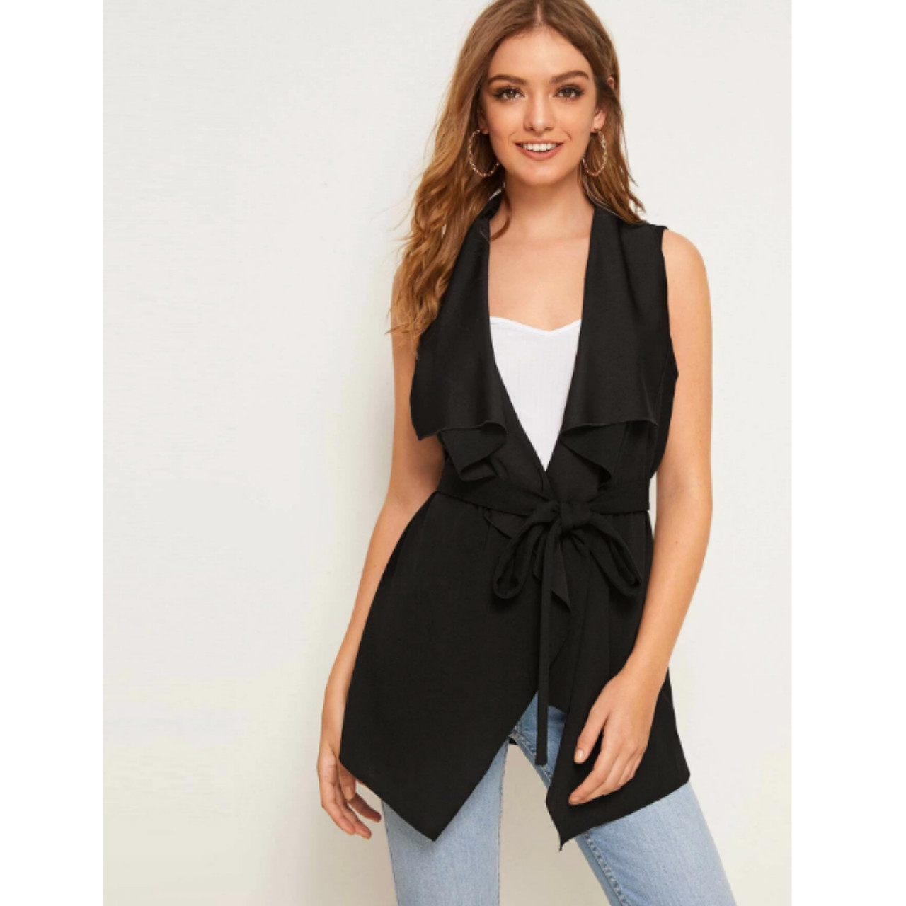 Solid waterfall collar belted vest m