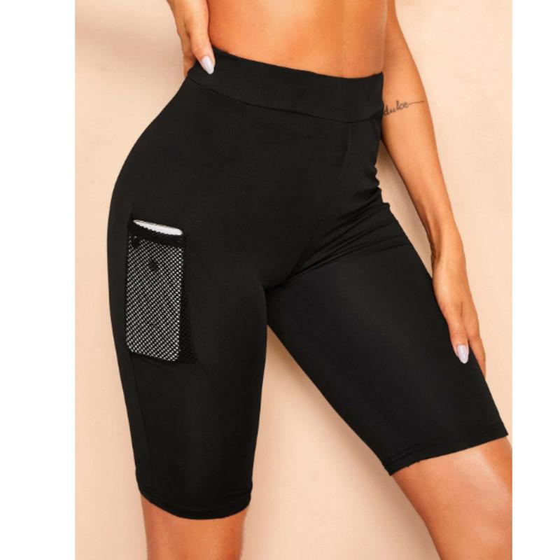 Mesh pocket patched solid skinny legging shorts s