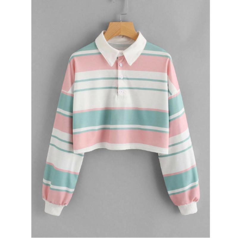 Striped drop shoulder crop polo shirt s