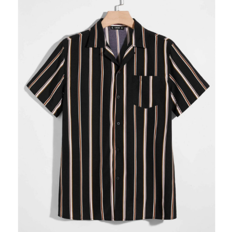 Men pocket patched striped shirt m