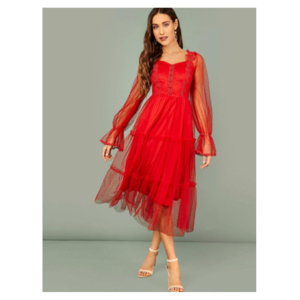 Shein flounce sleeve tiered hem dobby mesh dress m