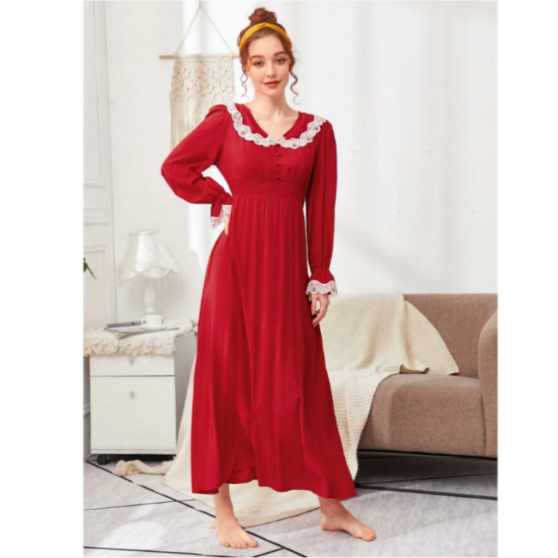 Flounce sleeve shirred waist lace trim nightdress m