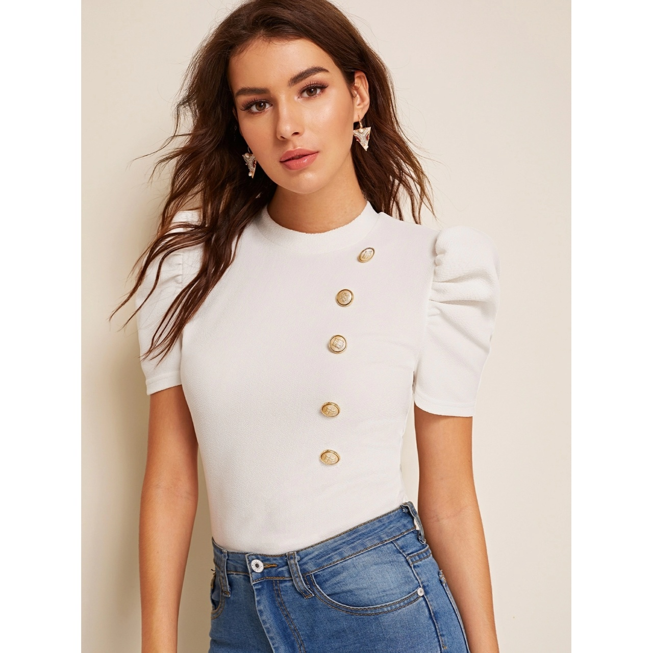 Shein mock-neck puff sleeve button front top m