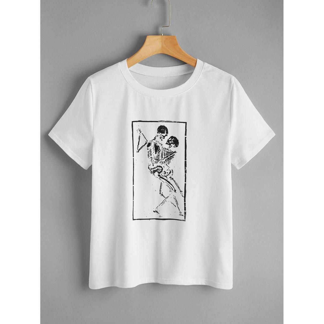 Skeleton print short sleeve tee l