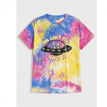 Men letter and graphic tie dye tee m