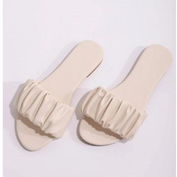 Ruched decor slide sandals eur38