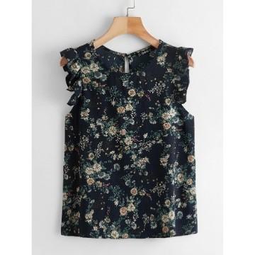 Shein ruffle armhole floral top xl