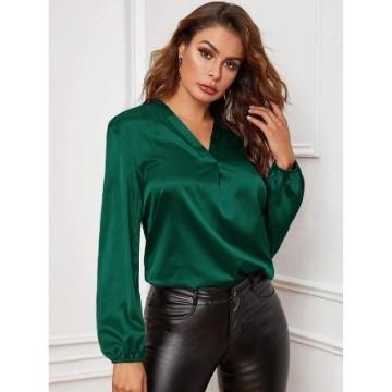 Shein v-neck lantern sleeve satin blouse m