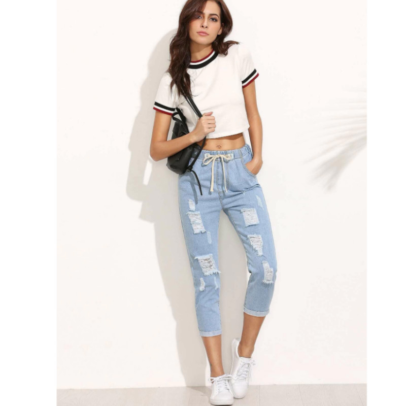 Distressed drawstring waist cropped jeans l