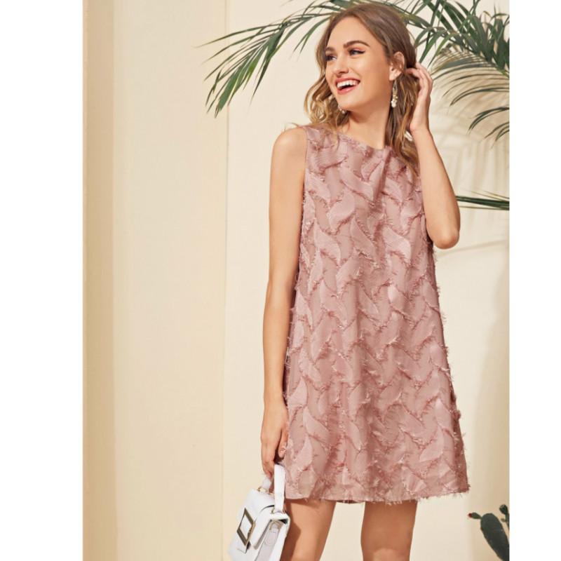 Round neck sleeveless fuzzy dress s