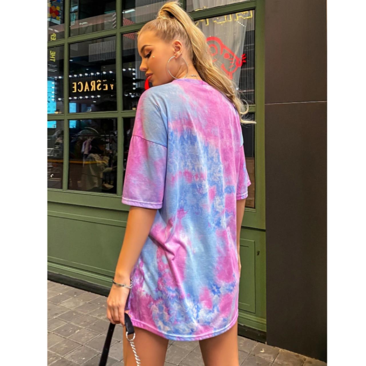 Tie dye drop shoulder oversized tee xl