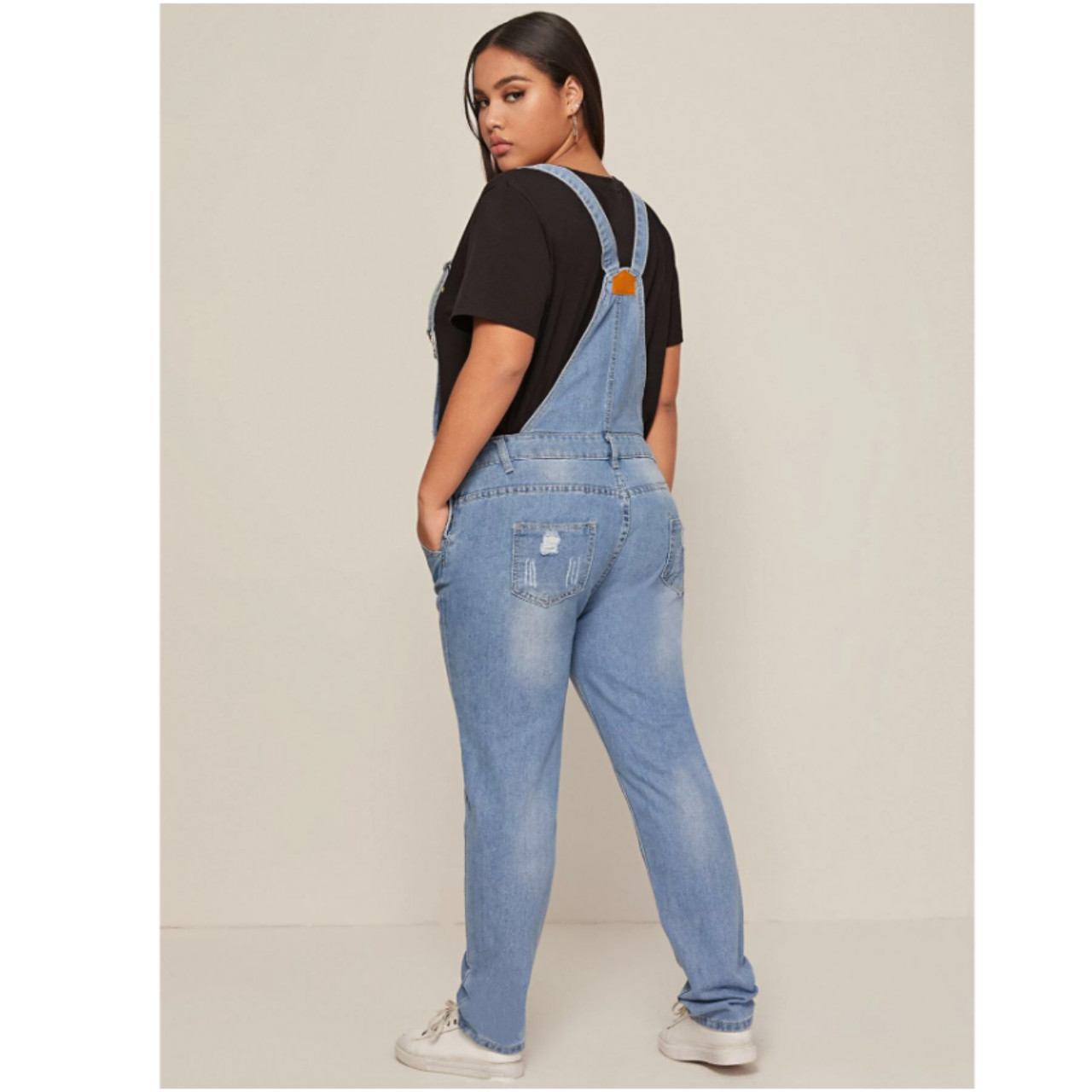 Plus pocket front ripped denim overall xl