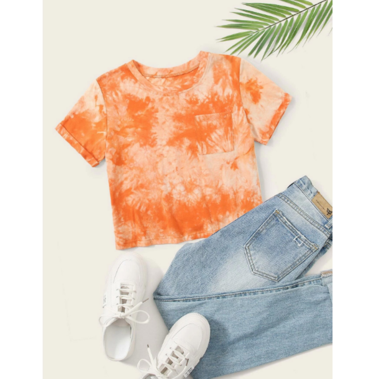 Tie dye pocket patched tee s