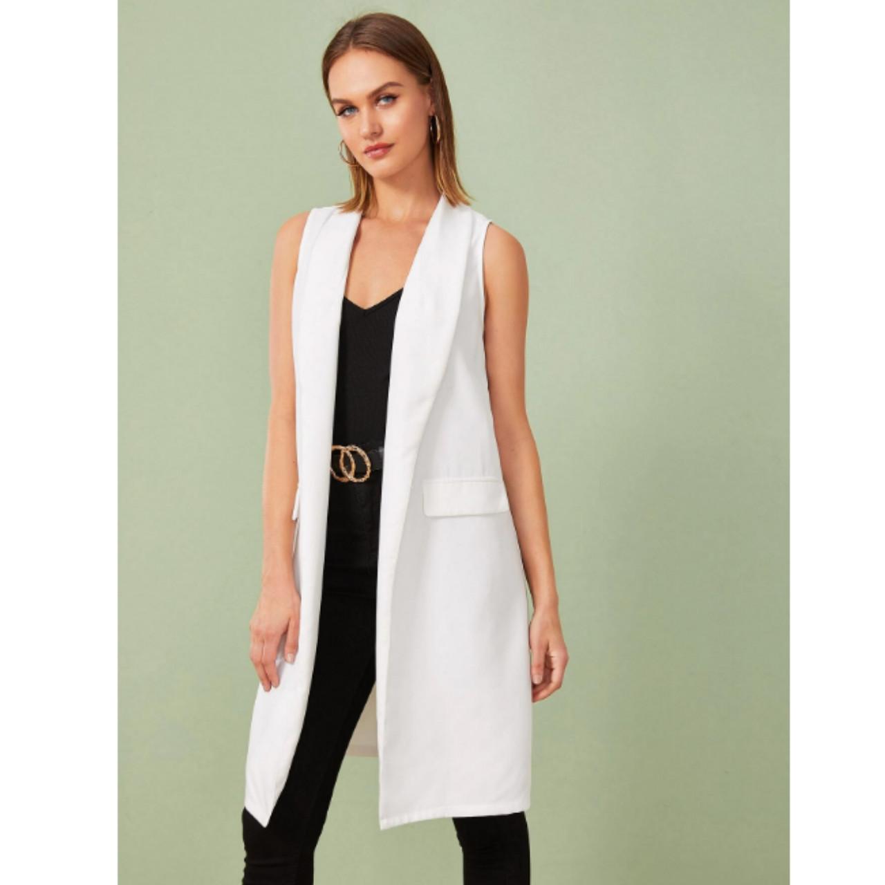 Shawl collar longline vest blazer l