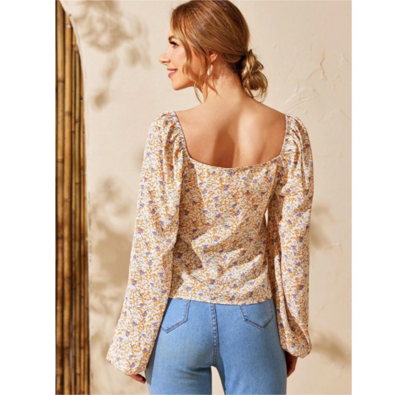 Lantern sleeve blouse m