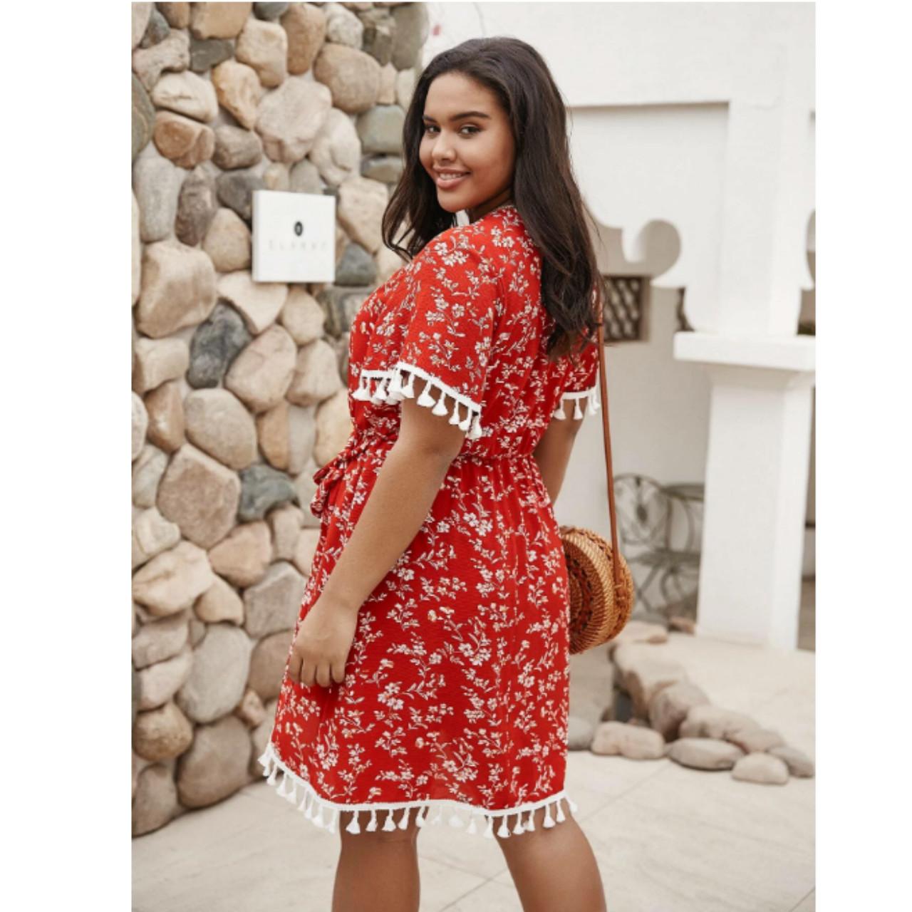 Plus allover floral dress 1xl