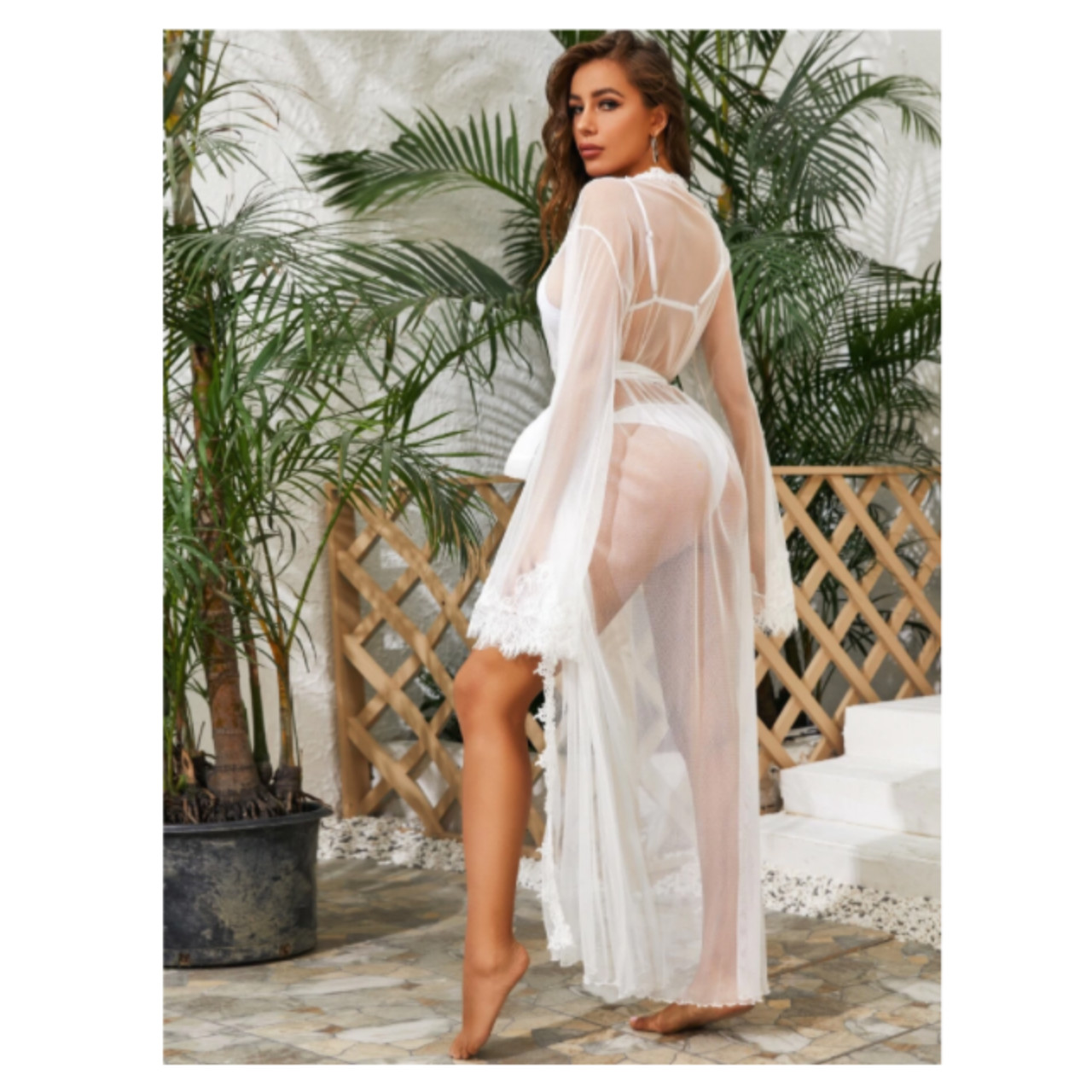 Lace trim sheer mesh belted robe l