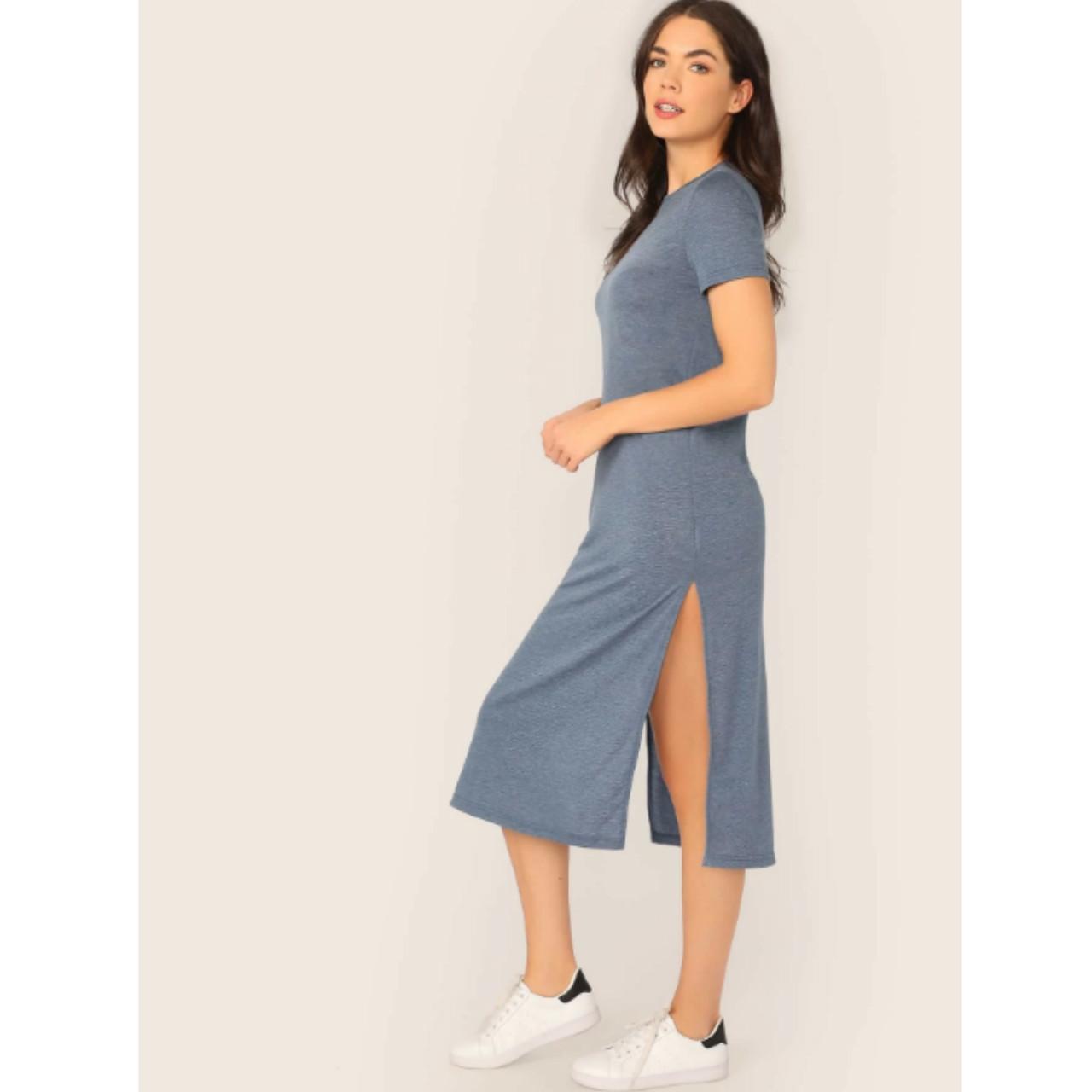 Solid short sleeve side slit dress m