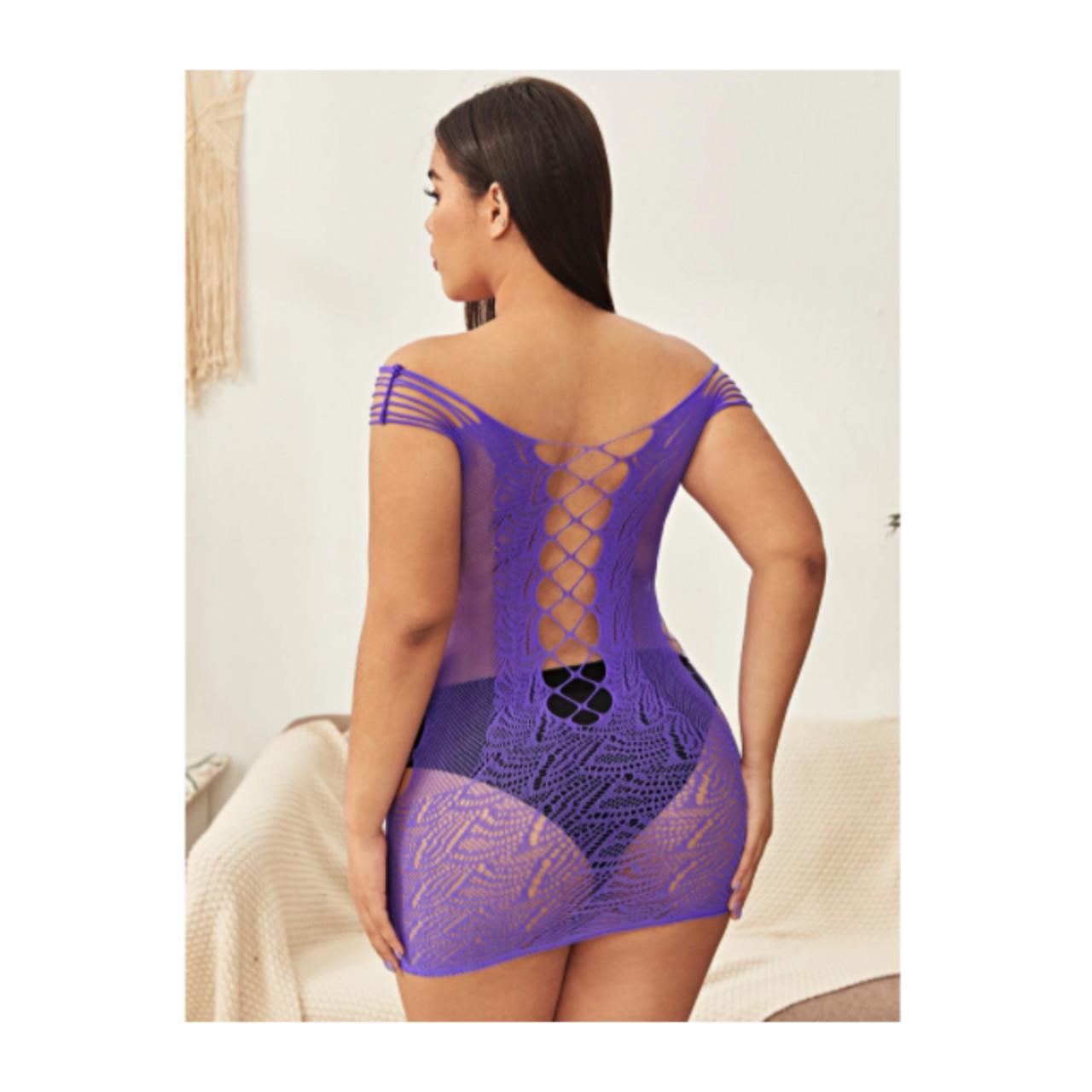 Plus cut out fishnet bodycon dress one-size