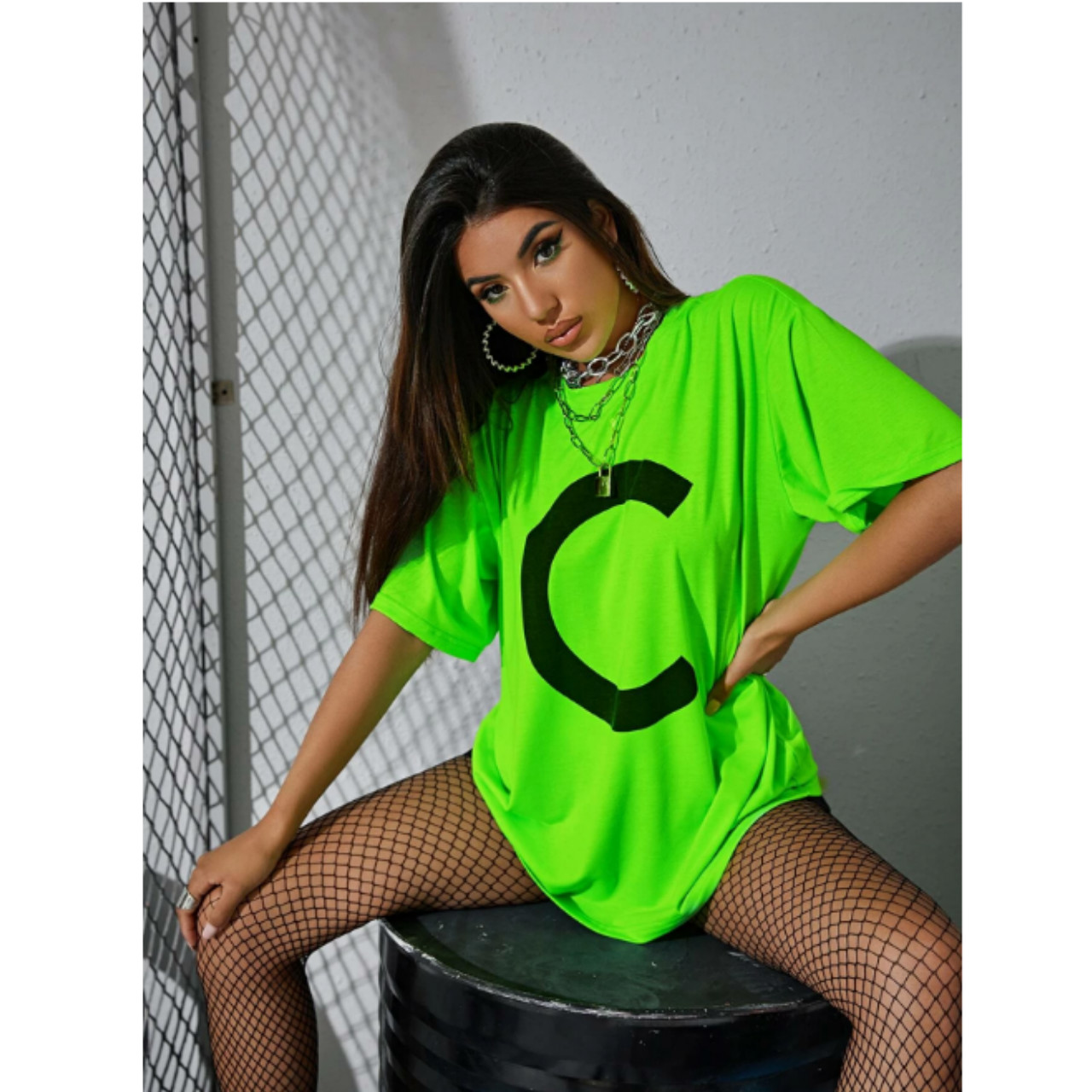 Neon green letter graphic oversized tee l