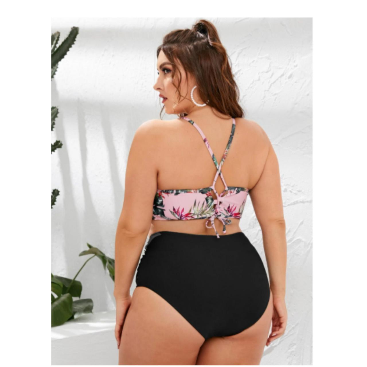 Plus tropical ruched bikini swimsuit 2xl
