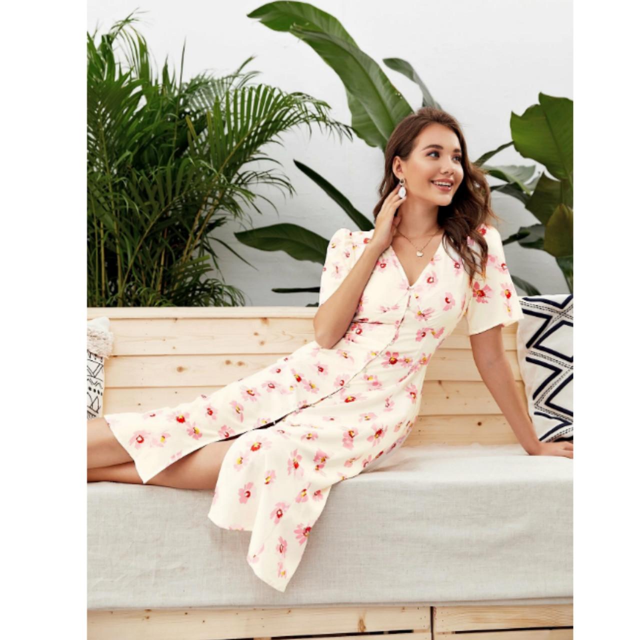 Button through floral a-line dress l