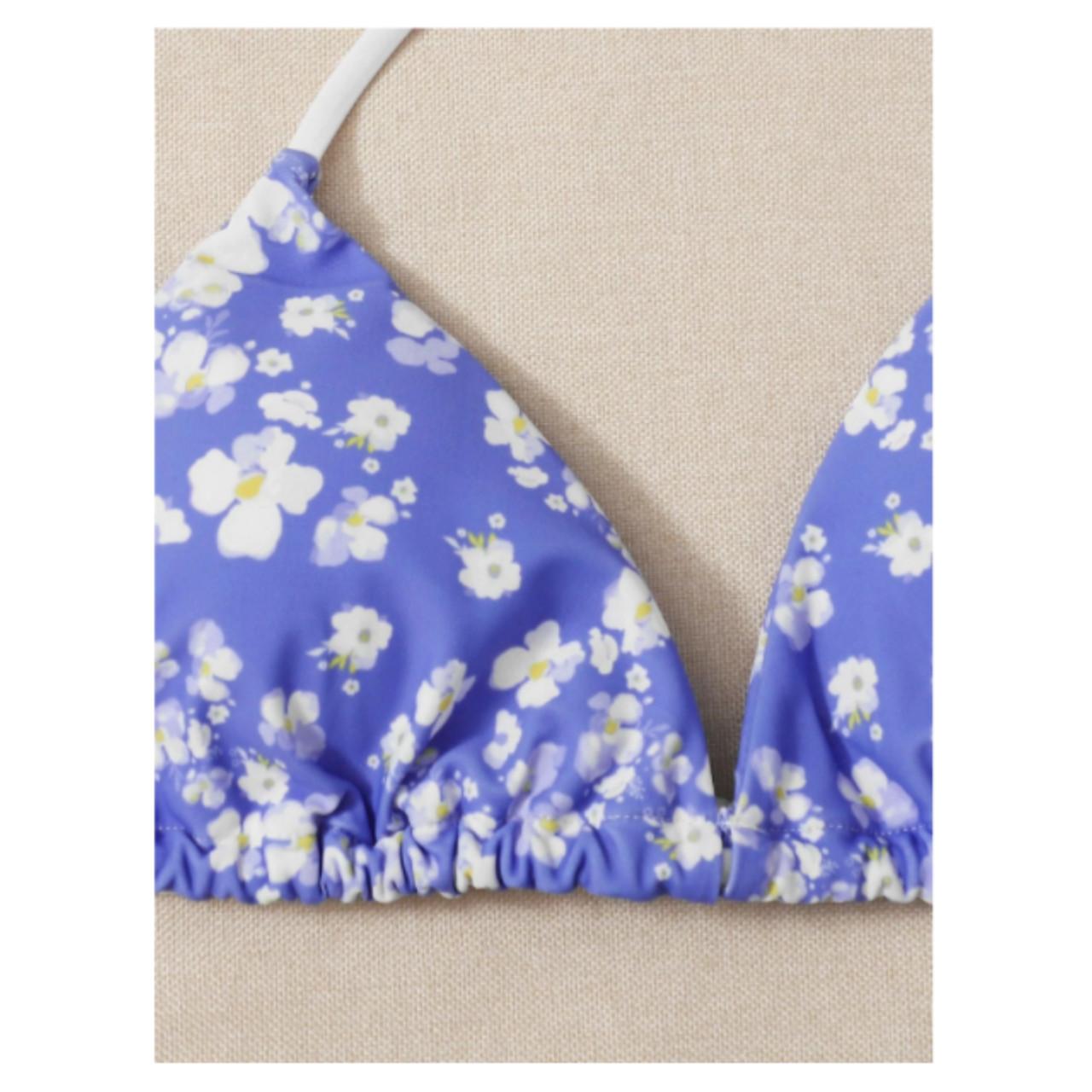 Floral triangle tie side bikini swimsuit m
