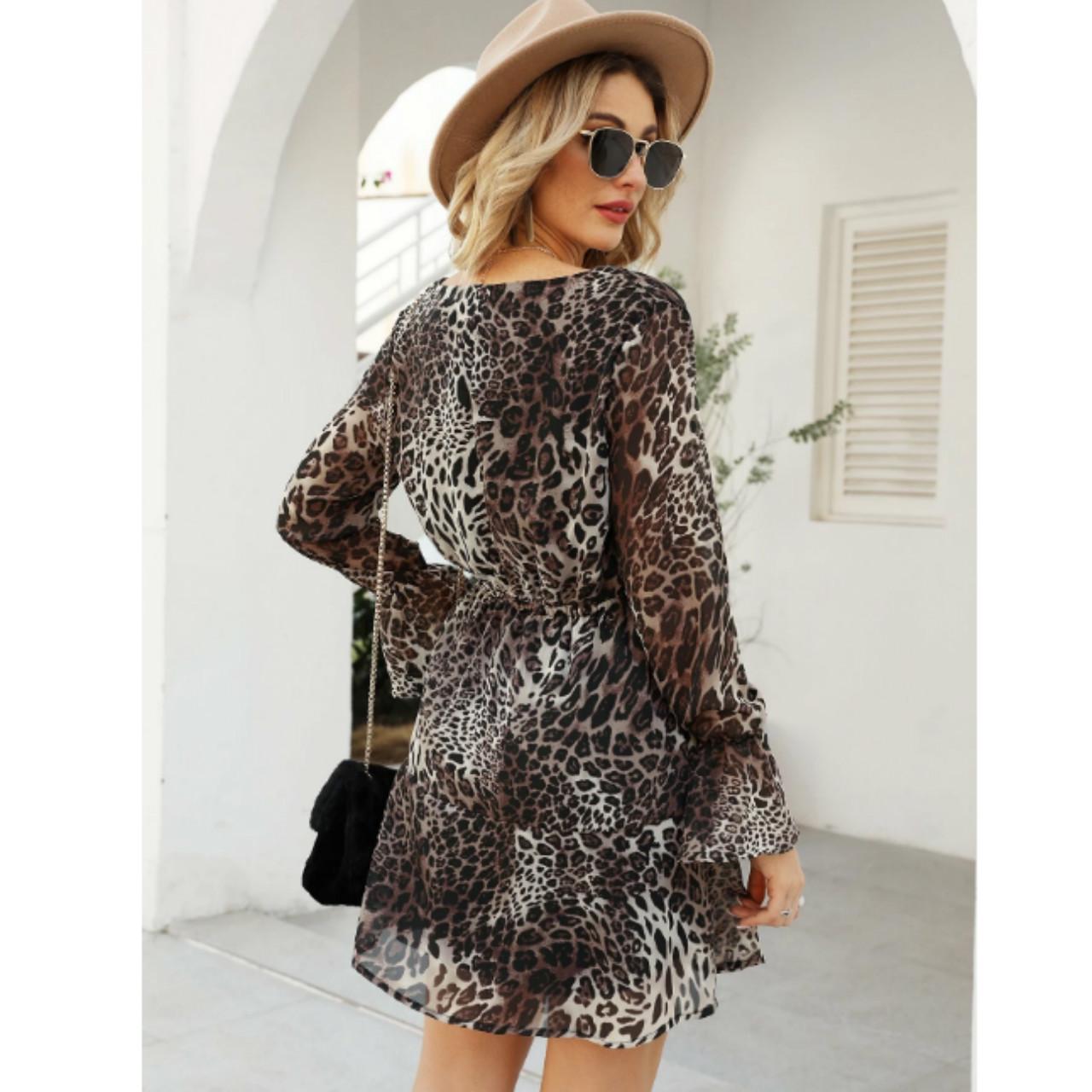 Flounce sleeve ruffle hem leopard wrap dress l