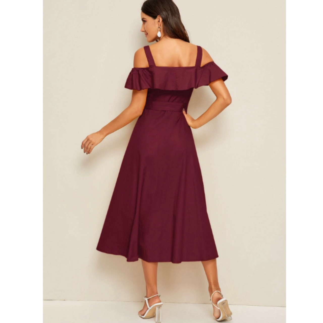 Flounce foldover button front self belted dress l