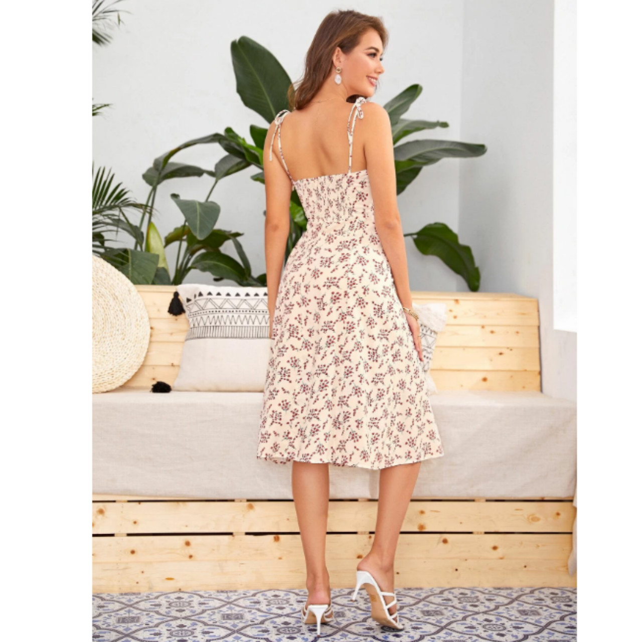 Tie shoulder split thigh ditsy floral cami dress l