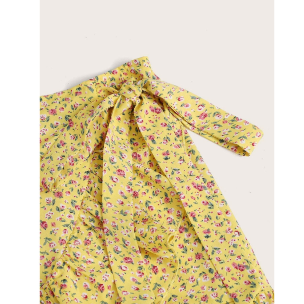 Ruffle trim wrap knotted ditsy floral skirt m