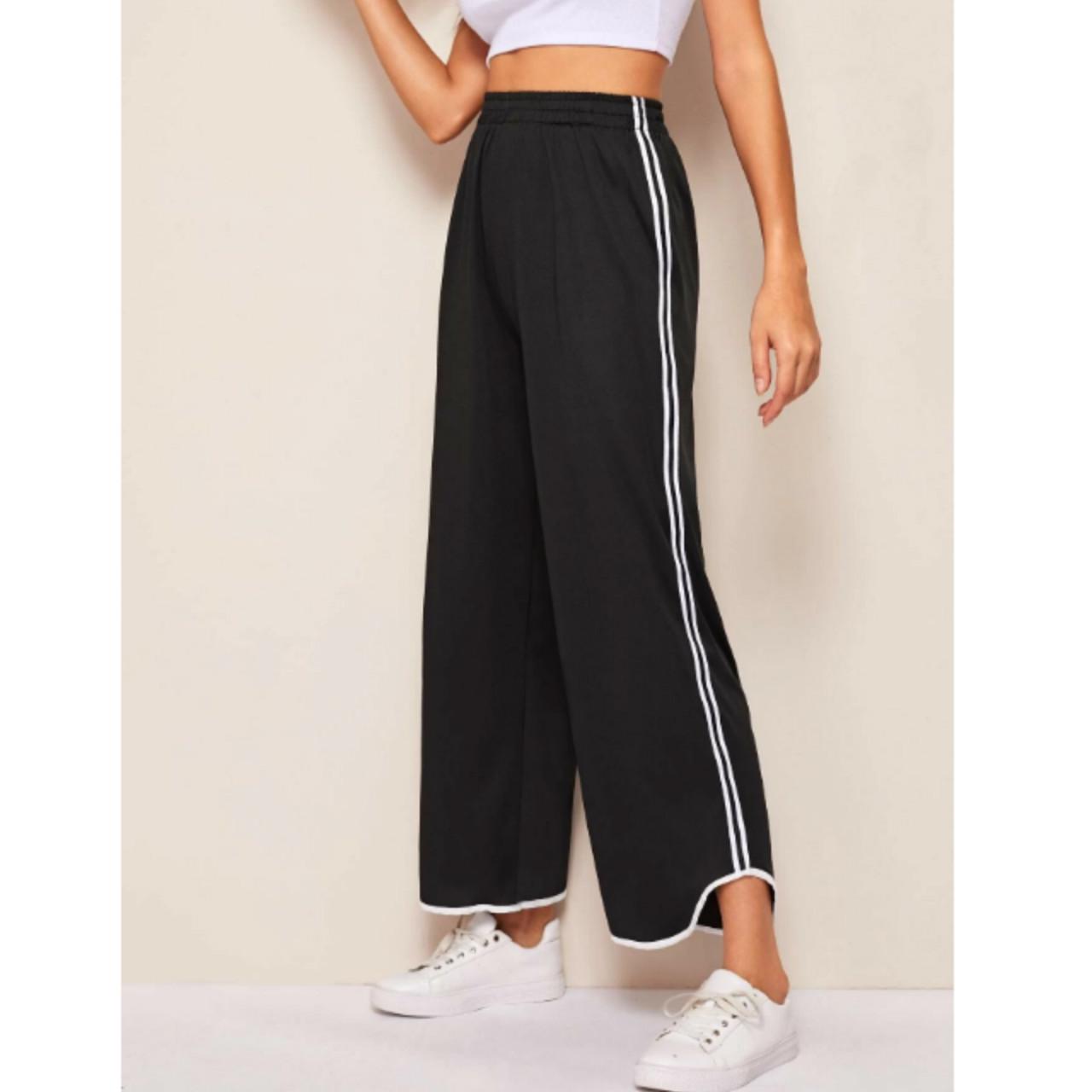 Tuxedo stripe side wide leg pants m