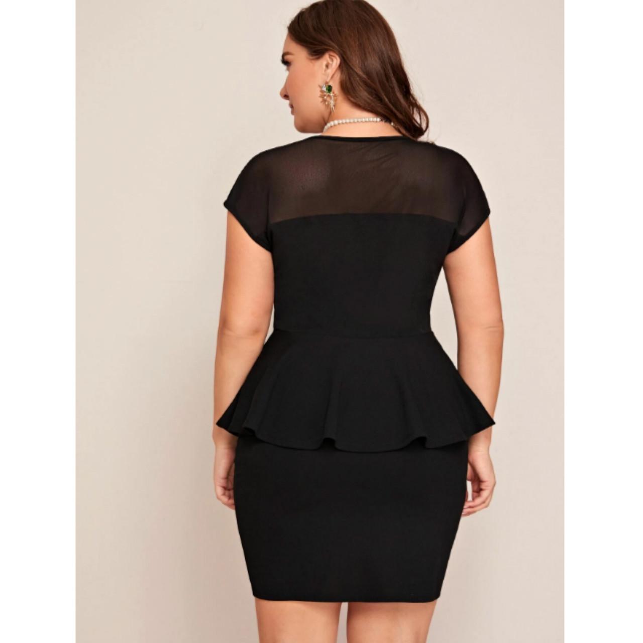 Plus mesh yoke peplum top and skirt set 1xl