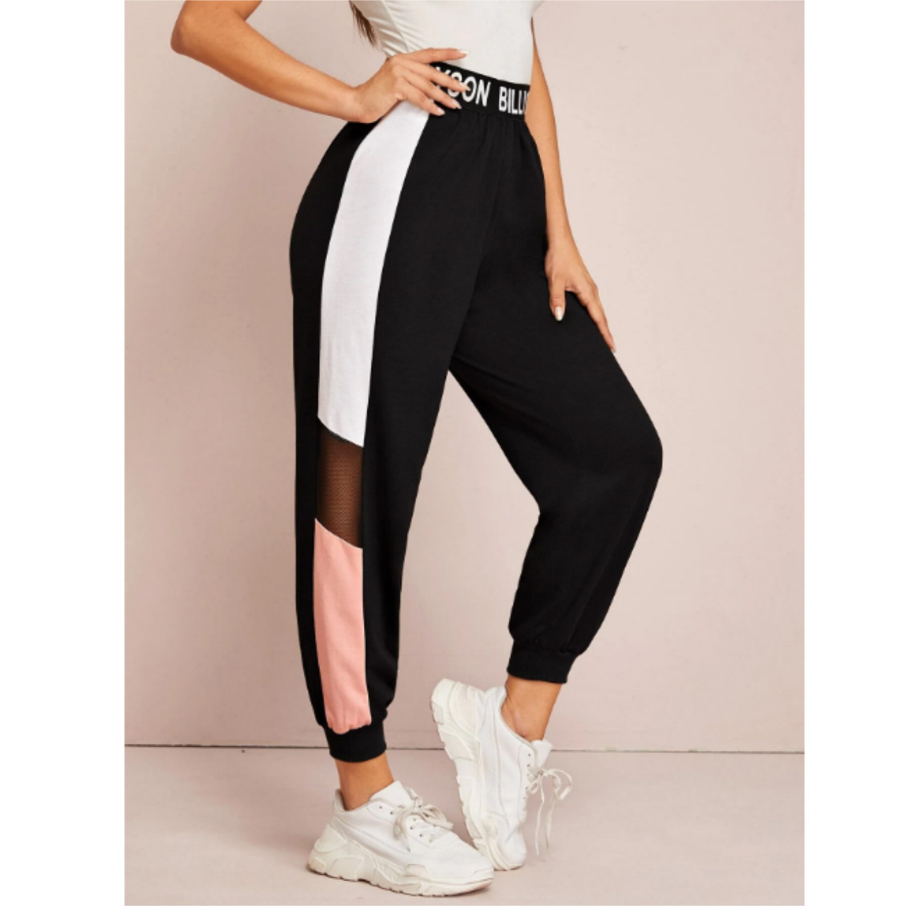 Letter graphic mesh insert colorblock joggers xs