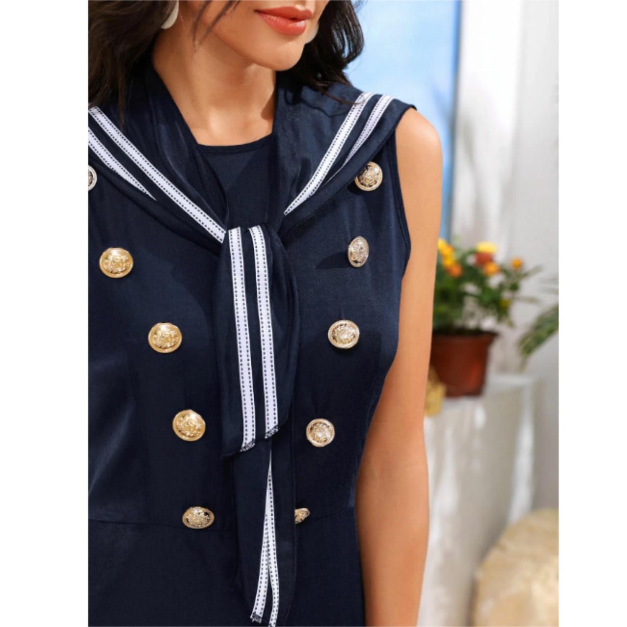 Sailor collar double button dress xs