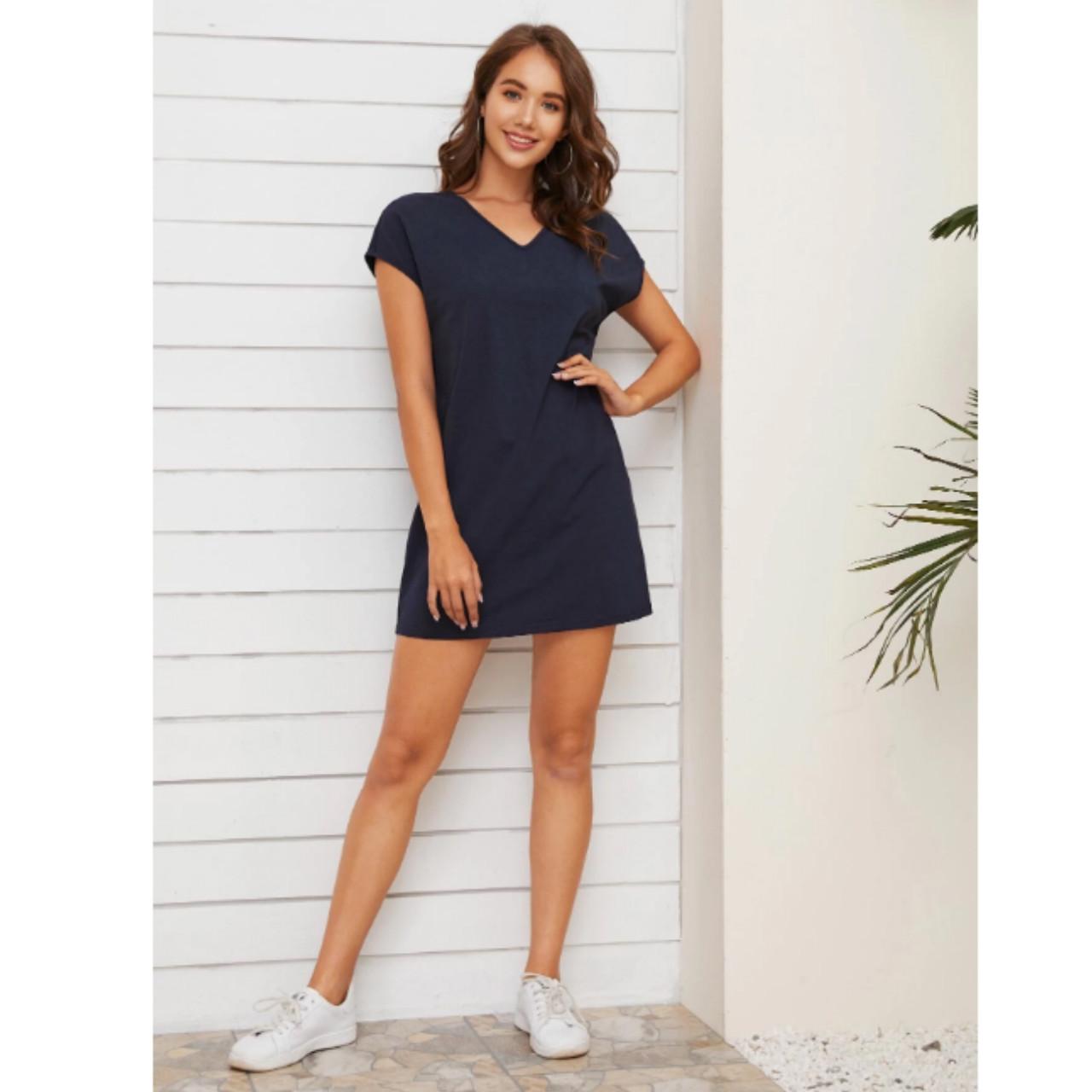 V-neck batwing sleeve solid dress xl