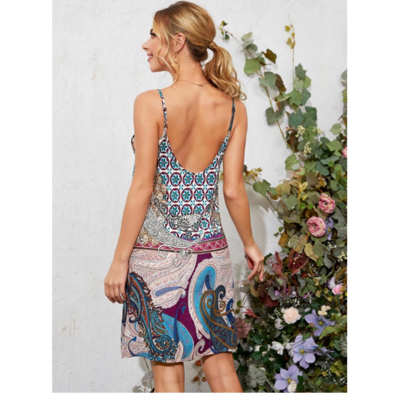 Low back paisley print slip dress xl