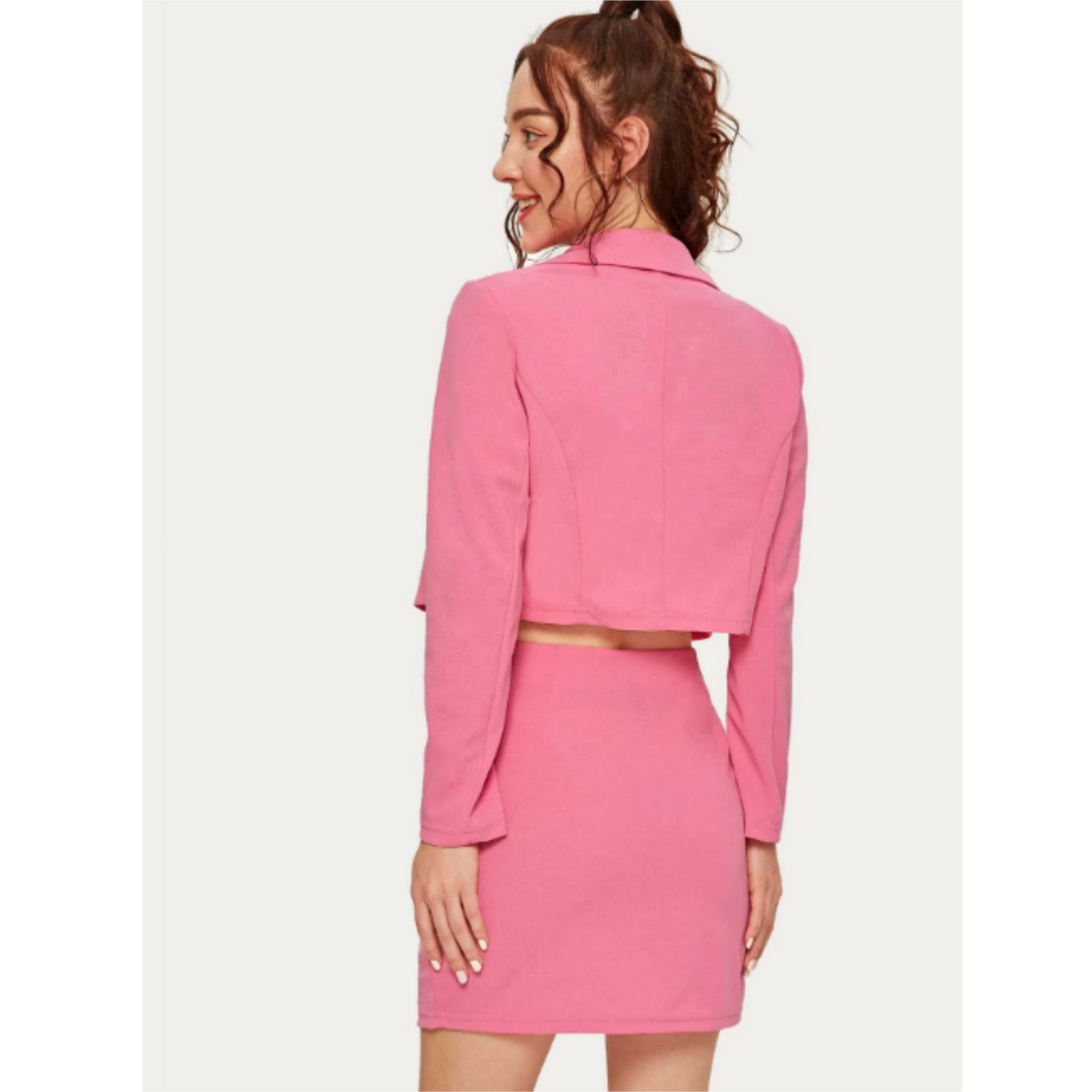 Double breasted cropped blazer & skirt set s