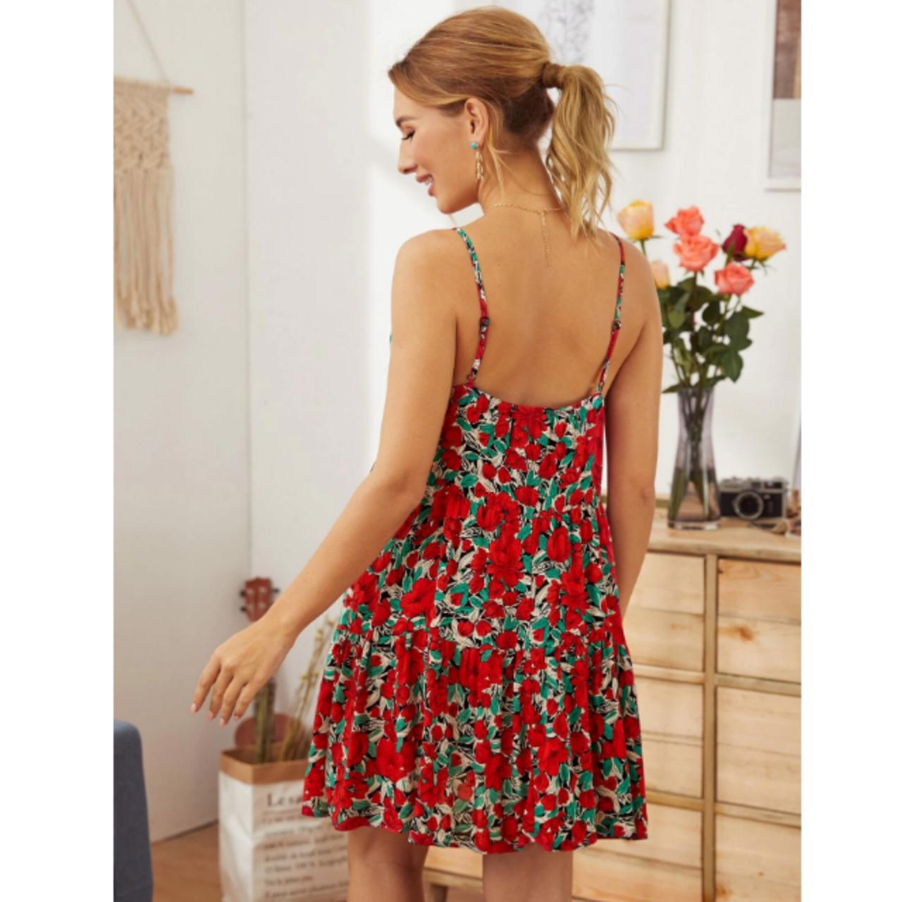 Maternity floral print slip dress m