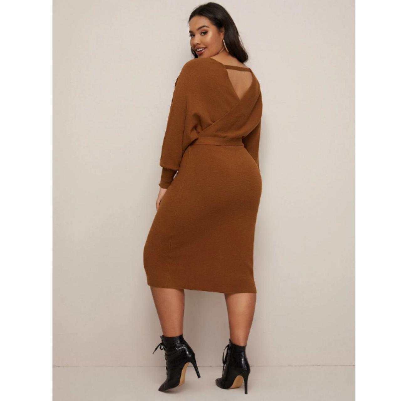 Plus surplice wrap belted sweater dress 0xl