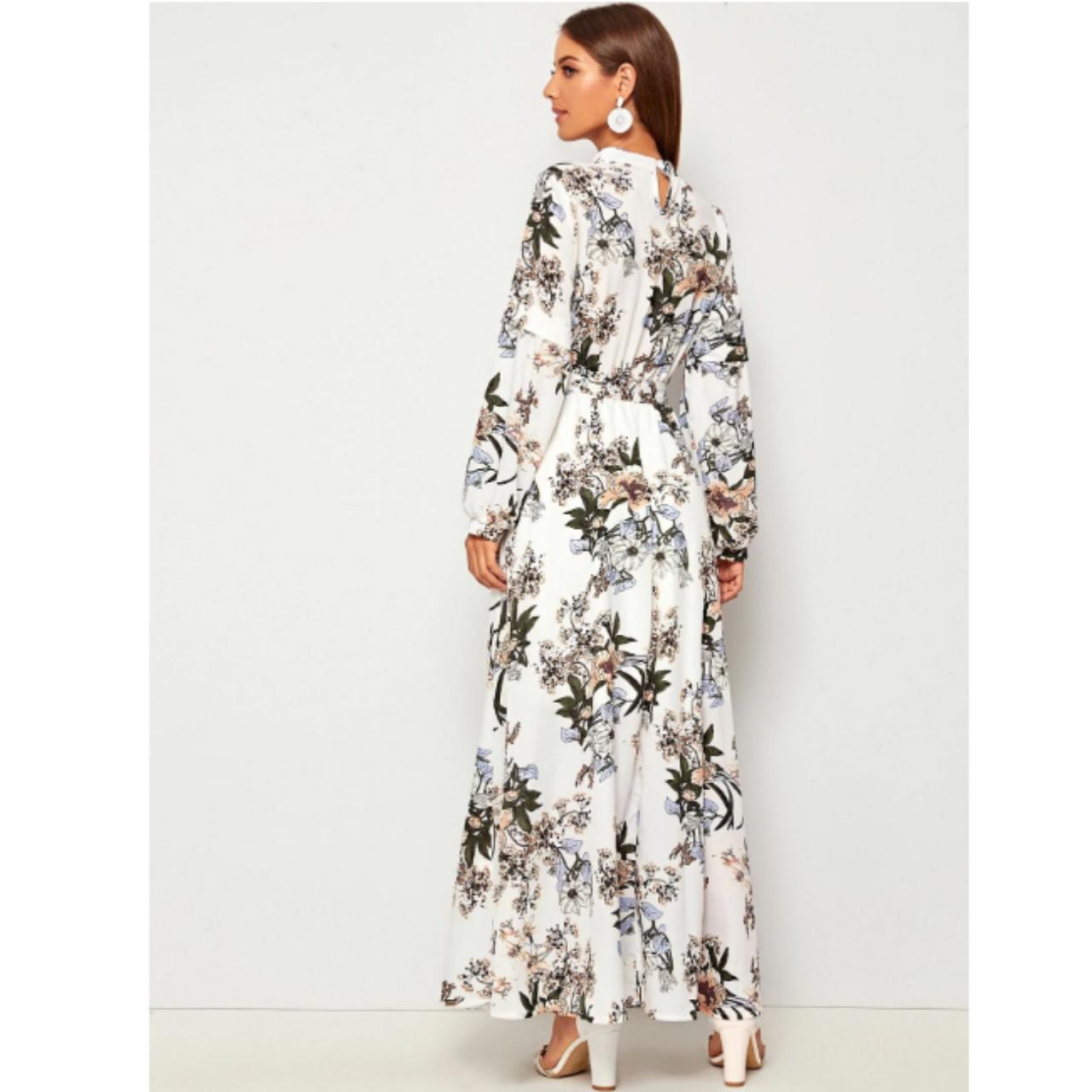 Allover floral print self tie swing maxi dress l