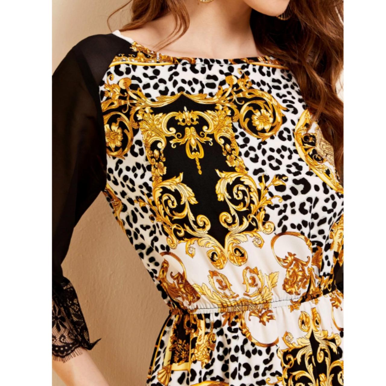 Leopard & baroque print ruffle hem dress xs