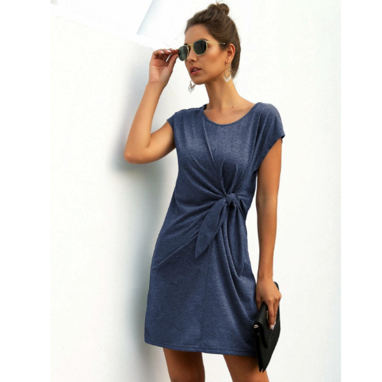 Solid knot front tee dress xl