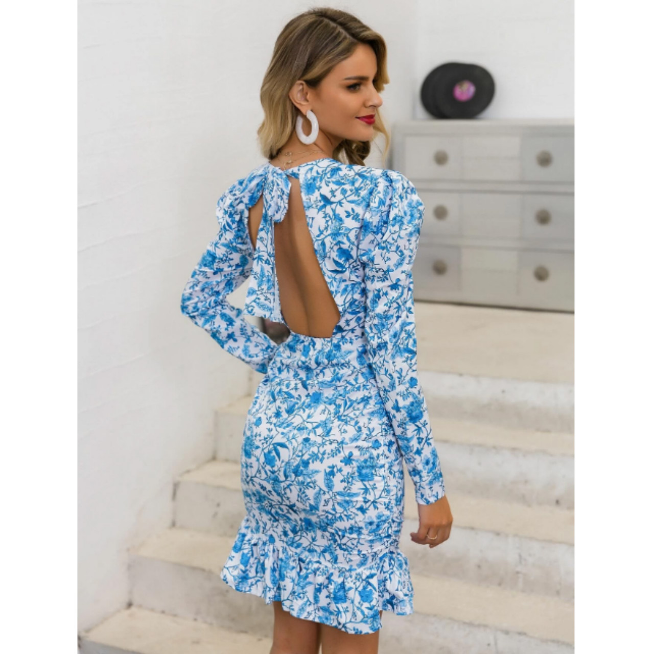 Glamaker floral ruffle dress s